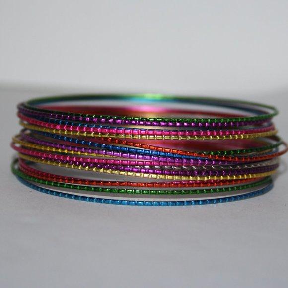 Brand new rainbow metal bangle bracelets